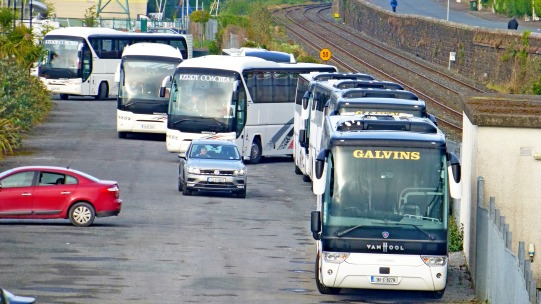 Buses waiting in Public Carpark